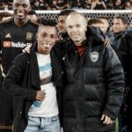 Ghanaian forward Latif Blessing meets childhood hero Andres Iniesta