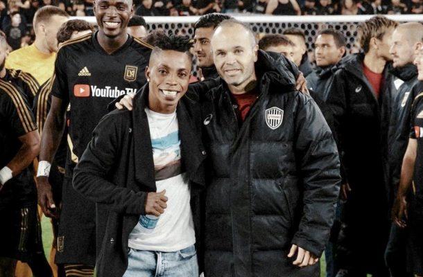 Ghanaian forward Latif Blessing meets childhood hero Andres Iniesta