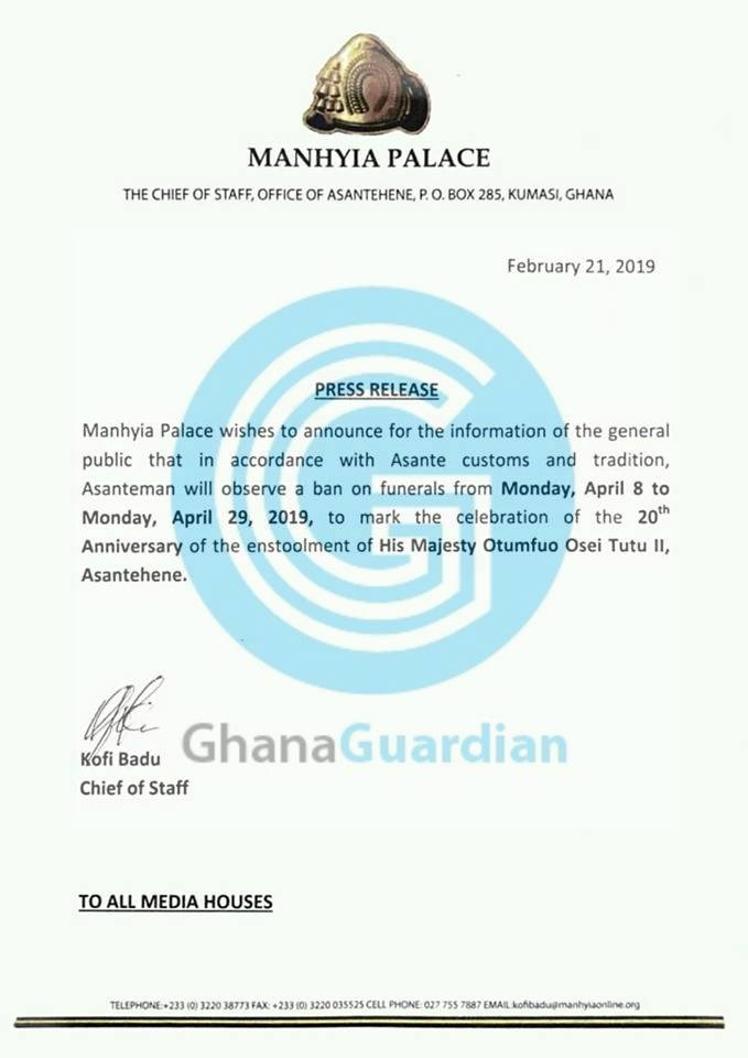 Manhyia bans funerals effective Monday April 8, 2019