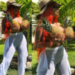 Rapper Dream Doll poses topless, uses Pineapples to cover her boobs in raunchy new photos