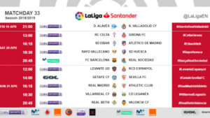 Kick-off times (CET) for Matchday 33 in LaLiga Santander 2018/19