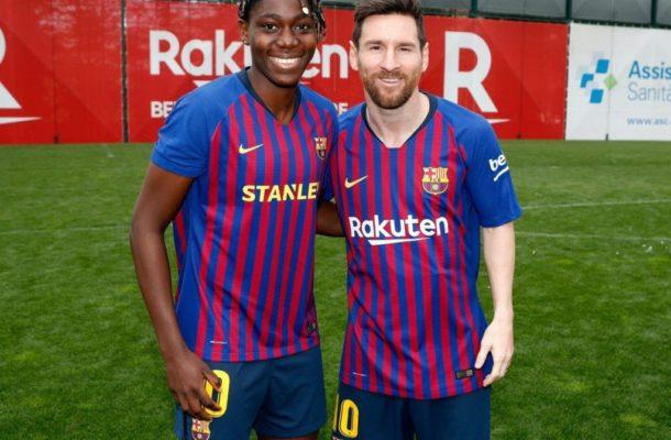 Nigeria female superstar Asisat Oshoala finally meets idol Messi