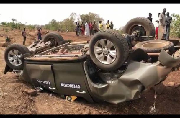 BREAKING: Military car overturns; 4 soldiers in critical condition [photos]