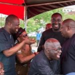 Omane Boamah, Sammi Awuku & Nana B in a hearty chat at a funeral
