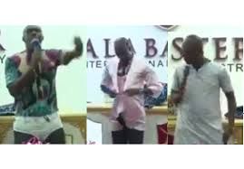 VIDEO: Ghanaian Pastor wears panties, nighties in front of his congregation to lecture married women