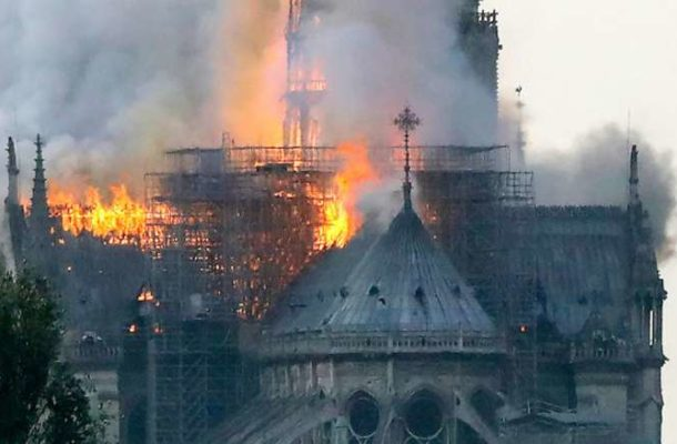 JUST IN: Fire guts Notre Dame cathedral in Paris