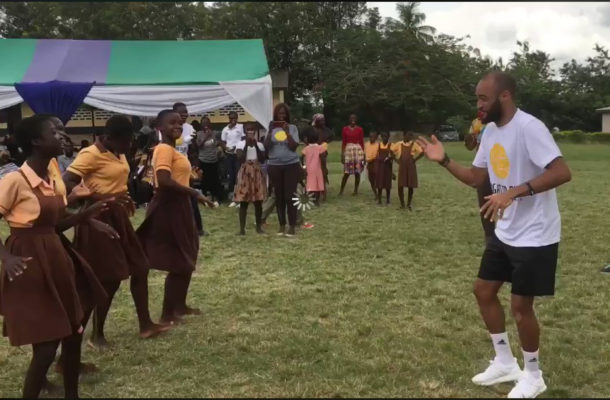 England and Southampton winger Nathan Redmond in Ghana for charity work