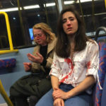 BLOODY: Lesbian couple are brutalized on London bus after they were seen kissing