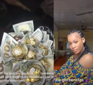 VIDEO: Pretty University student receives bouquet of dollars from a crush who wants to get her attention