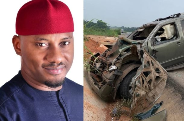 Nigerian actor, Yul Edochie survives ghastly car crash