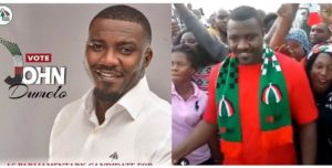 VIDEO: John Dumelo mobbed after successfully passing through Ayawaso West Wougon vetting