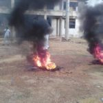 Irate anti-Muntaka protesters burn tyres, lock up party office in Kumasi