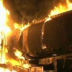 Driver, mate set fuel tanker ablaze