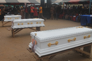 Three kids crushed to death by mechanic laid to rest in Twifo Praso