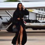 PHOTOS: Rihanna flaunts hot legs in sexy thigh-high split skirt as she touches down in Barbados