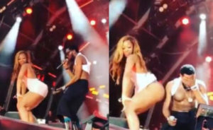 VIDEO: Ghanaian lady flashes her panties while twerking up a storm for D'banj in Portugal