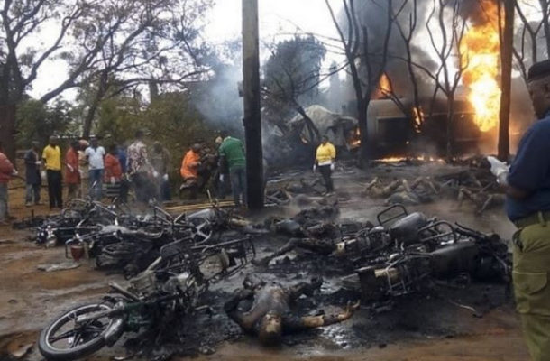 TRAGIC: At least 57 people burnt to death while scooping fuel from a fallen tanker