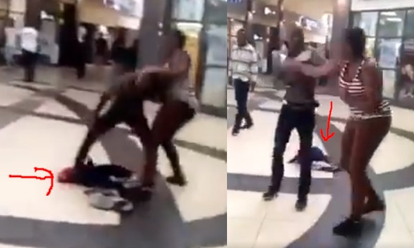 VIDEO: Lady drops her baby to fight her baby daddy in a mall