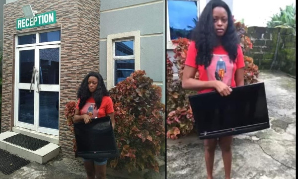 BUSTED: Lady nabbed, paraded for stealing hotel's plasma TV
