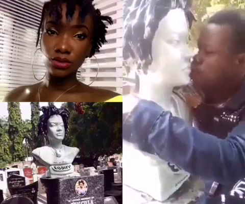 VIDEO: Man caught kissing and fondling Ebony's statue at Osu cemetery