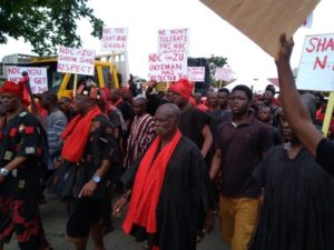 PHOTOS: Angry residents of Kyebi demonstrate against NDC over 'insults'