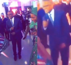 VIDEO: Africa's richest man, Aliko Dangote shows off his dance skills as Teni performs in NY