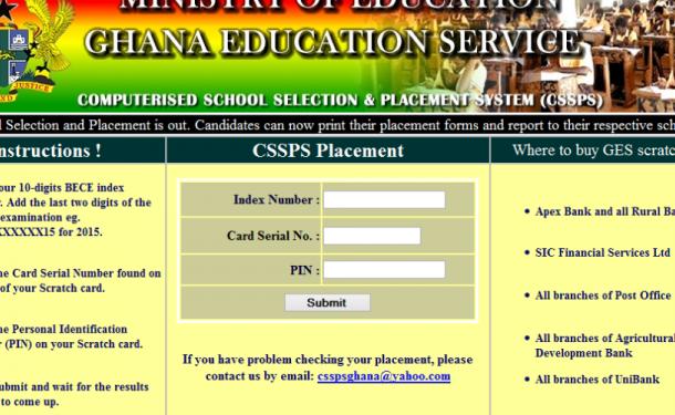 GES suspends Free SHS self-placement module