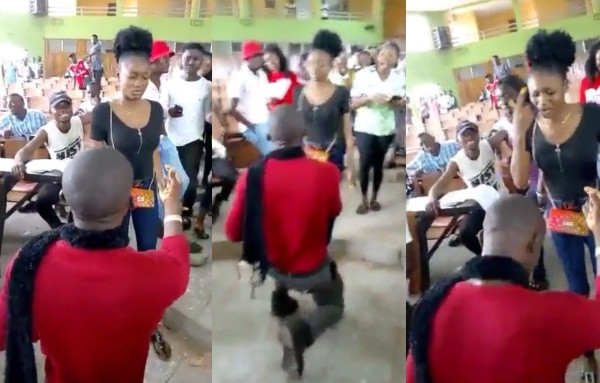 VIDEO: University Student slaps boyfriend for proposing to her in lecture hall