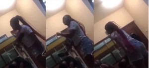 SHOCKING VIDEO: Uni. of Ghana student viciously beats up boyfriend with 'chale wote' for cheating