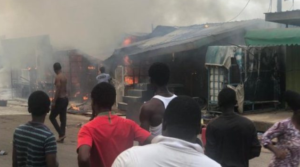 PHOTOS: Fire guts container shops in Accra