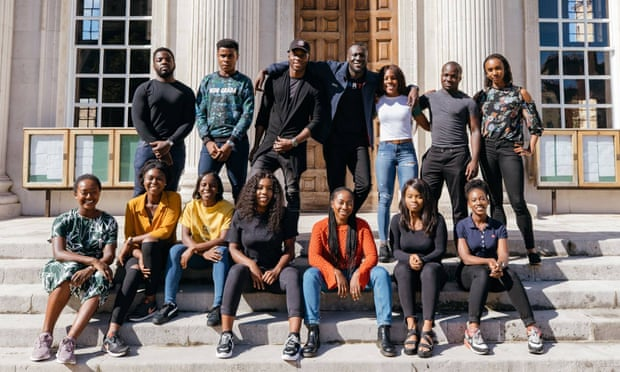 Stormzy (back row, centre) at launch of his scholarship scheme. Photograph: Stormzy