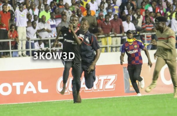 Cape coast pitch invader in police custody, being processed for court