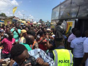 PHOTOS & VIDEO: Black Stars mobbed at Winneba on their way to Cape Coast