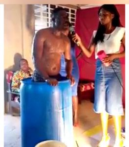 VIDEO: Ghanaian pastor baths in church; orders church members to drink his bath water