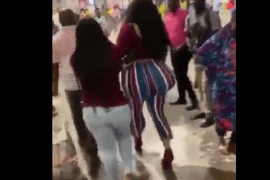 VIDEO: Lady with huge yansh causes a standstill at Kotoka International Airport