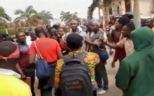 VIDEO: Warning shots fired as Menzgolders picket at NAM1's residence