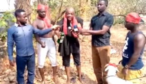 VIDEO: Abronye DC storms cemetery to curse accusers over missing excavators