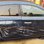 PHOTOS: 2 injured as GIS boss' convoy causes accident at Suhum overpass