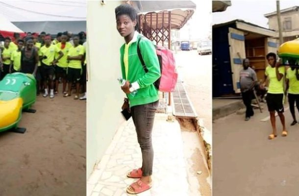 PHOTO & VIDEO: Sea Lions Ladies Barikisu Tijani laid to rest in a boot shaped casket