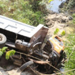 Tipper truck plunges into river on Koforidua-Mamfe road