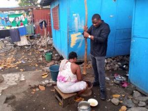 PHOTOS: John Dumelo pounds fufu, braids hair for votes