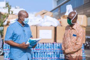 Photos: John Mahama donates PPE to health workers at Ridge hospital