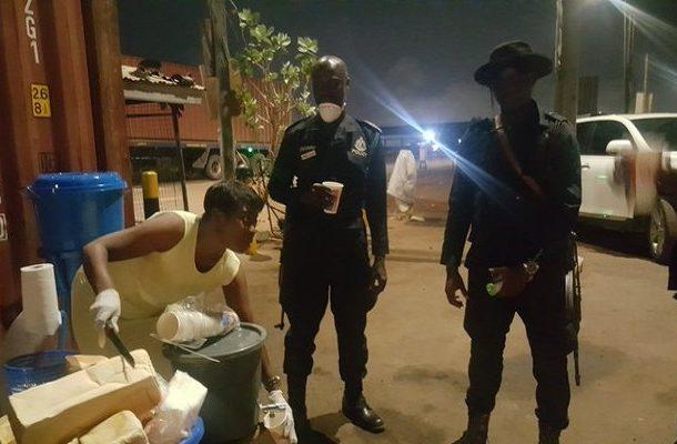 Coronavirus: Afia Pokua feeds security officials enforcing lockdown orders