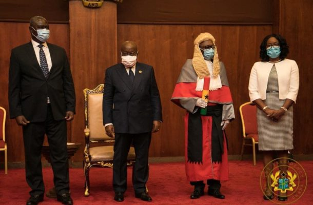 President Akuffo-Addo swears in Supreme Court Justices Honyenuga and Tanko Amadu