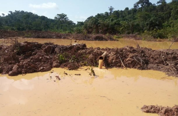 Enchi: No portable water in Banaso as ongoing galamsey activity causes wreck