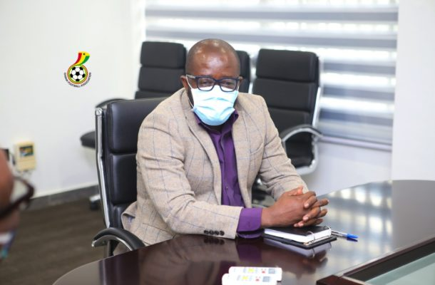 Venue Media officers interact with GFA President