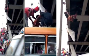 VIDEO: Man attempts suicide on Kaneshie Market overpass