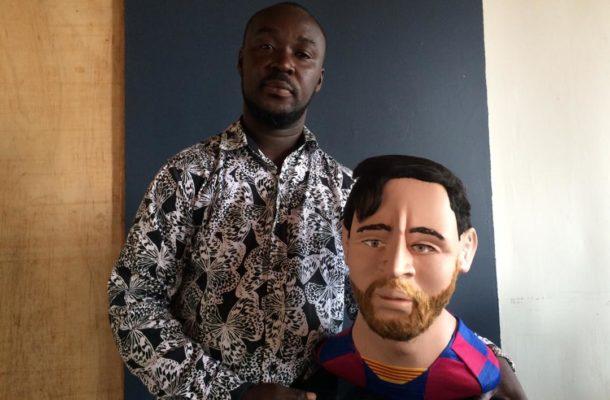 PHOTOS & VIDEO: Talented Ghanaian artist sculpts perfect Lionel Messi effigy