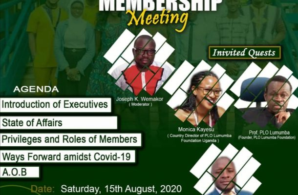 PLO Lumumba Foundation Ghana to hold 1st ever 'General Membership Meeting' via zoom slated for August 15
