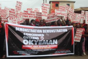 PHOTOS & VIDEOS: 'Akyem Sakawa Mafia' demo underway at Asamankese